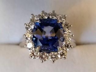 Sapphire Diamond Plat Ring